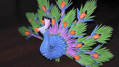 3d Origami Peacock - 3d origami peacock the king of birds tutorial