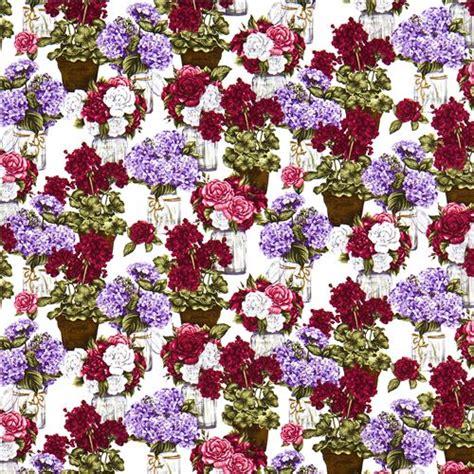 tessuti a fiori tessuto robert kaufman bouquet di fiori viola in vaso