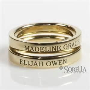 Personalized Rings With Names Hand Crafted Engraved 3mm Stackable Ring In 14k Gold By Sorella Jewelry Studio Custommade Com