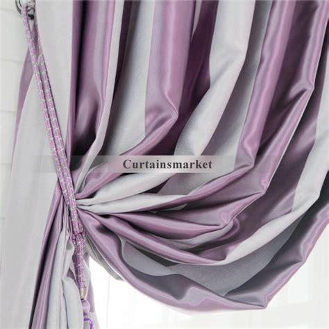 Purple And Grey Curtains Grey And Purple Stripe Curtains Are Presented In Modern Style