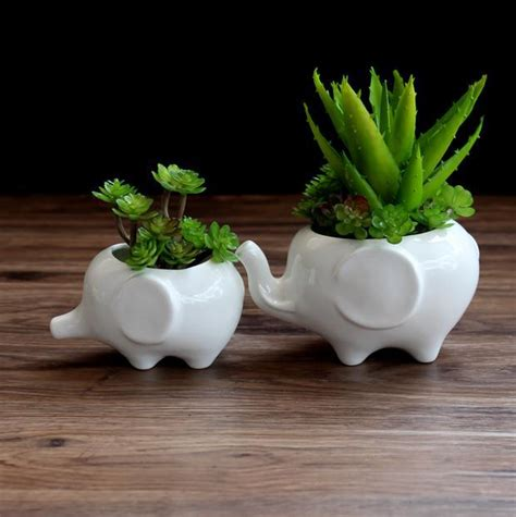 Home Decor Pots Elephant Flower Pot Ceramic Zakka Succulents Flowerpot Porcelain Plants Pot Home Decor Desk