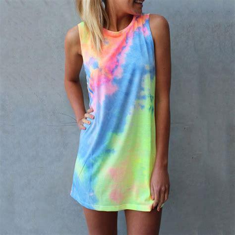 summer tie dye print rainbow tank dress