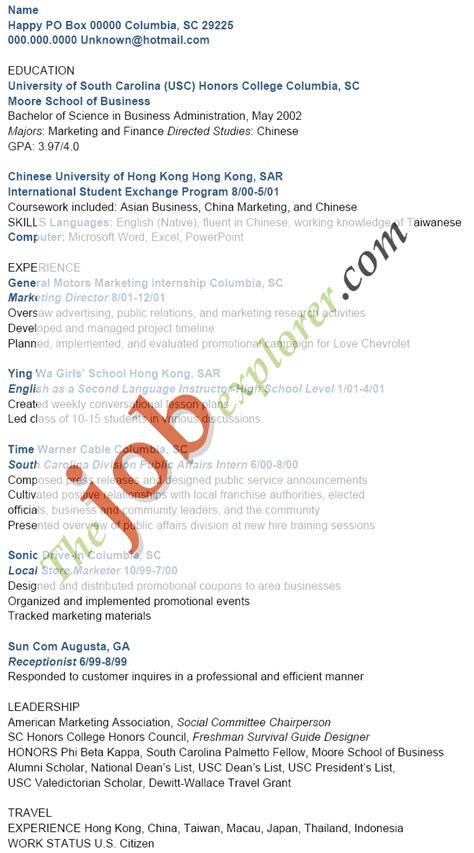 Resume Exles Hong Kong Finance Resume Template