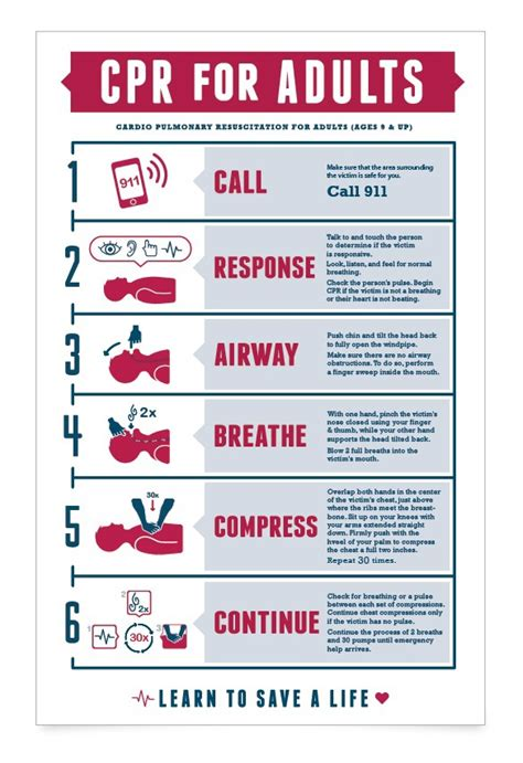 printable cpr instructions cpr chart on behance