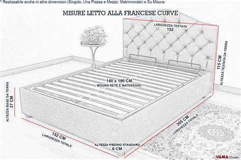 dimensione letto letto alla francese con contenitore e testata curva