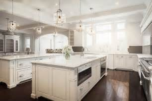 White And Brown Kitchen With Two Islands Transitional Kitchen