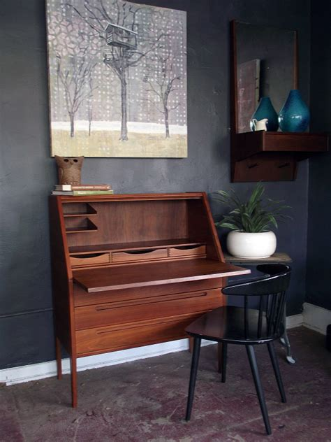 mid century modern secretary desk vintage ground danish modern mid century secretary desk