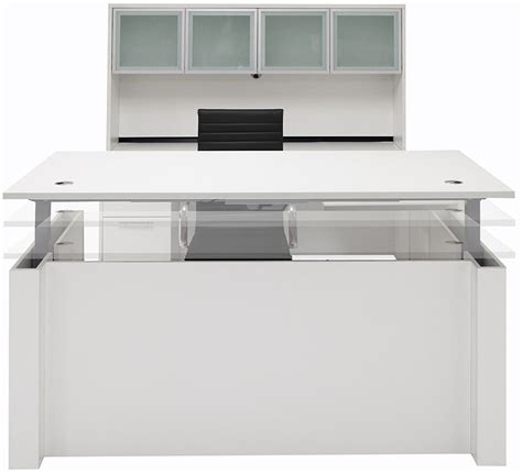 White U Shaped Desk Adjustable Height U Shaped Executive Office Desk W Hutch In White