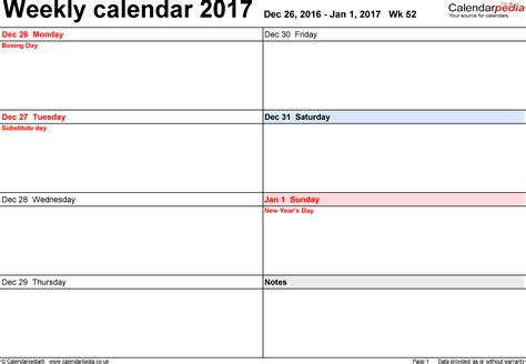 printable calendar 2017 by week weekly calendar 2017 printable 2017 calendars