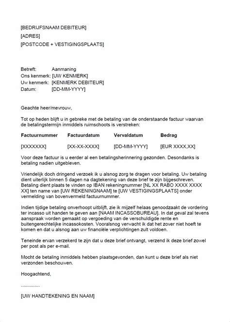 standaard layout zakelijke brief aanmaning sommatie sturen voorbeeld aanmaningsbrief