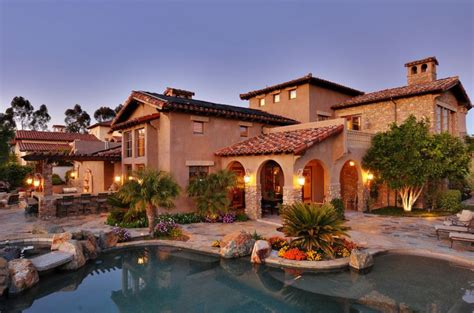 tuscany house mediterranean tuscan style home house back view