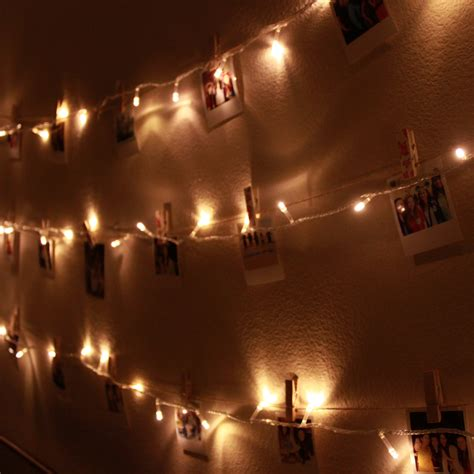String Lights Wall - diy polaroid wall with string lights simple stylings