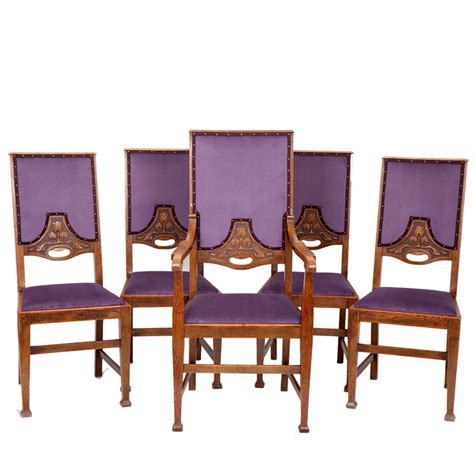 Set of 5 Arts & Crafts Dining Chairs The Unique Seat Company