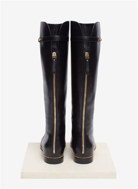 sergio zip trimmed leather boots in black lyst
