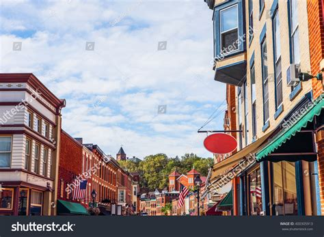 shops along main street galena illinois stock photo