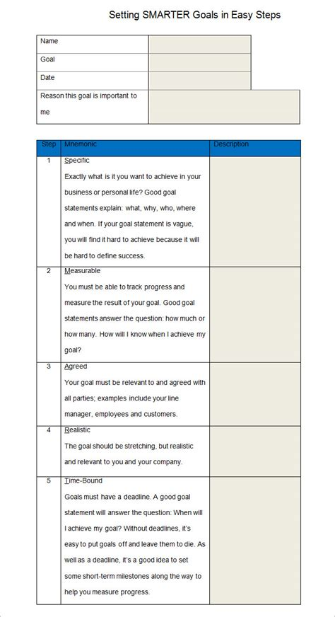 Smarty Templates by Smart Goal Template 4 Free Pdf Word Documents