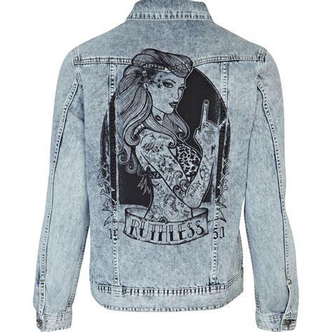 Print Jacket river island light wash back print denim jacket in