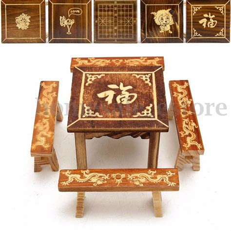 Dollhouse Dining Room Furniture Dollhouse Miniature Furniture Wooden Mini Dining Room Table And 4 Chairs Set N Ebay