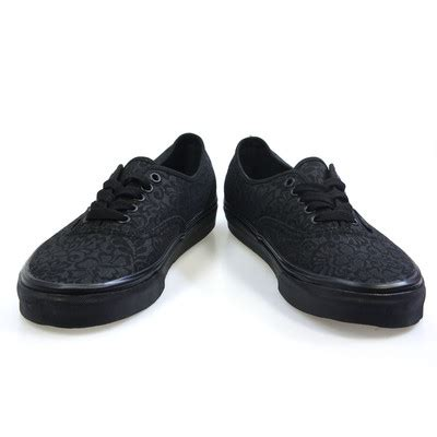 Black Pattern Vans | vans authentic lo pro womens black pattern lace trainers