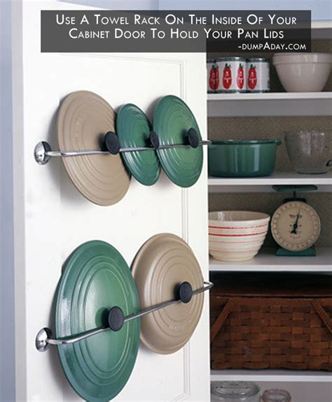 Inside Kitchen Cabinet Door Storage Use A Towel Rack On The Inside Of Your Cabinet Door To Hold Your Pan Lids Picture The Recipe