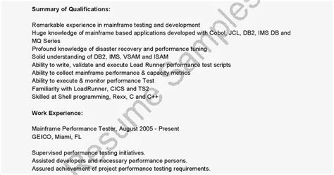 Mainframe Performance Tester Sle Resume by Mainframe Testing Resume Doc 28 Images Free Sle Resumes Resume Sles For Prototype Test