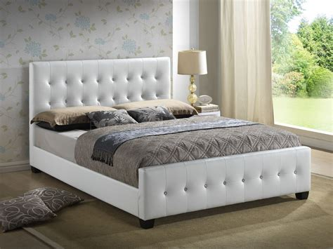 upholstered bed  white leatherette  glory