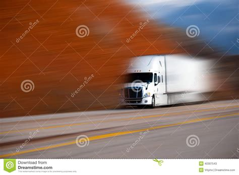 Semi Plastisol White Colour white big semi truck on the road on blurred colors background stock image image 40307543