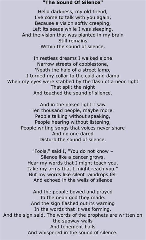 testo the sound of silence simon garfunkel the sound of silence lyrics