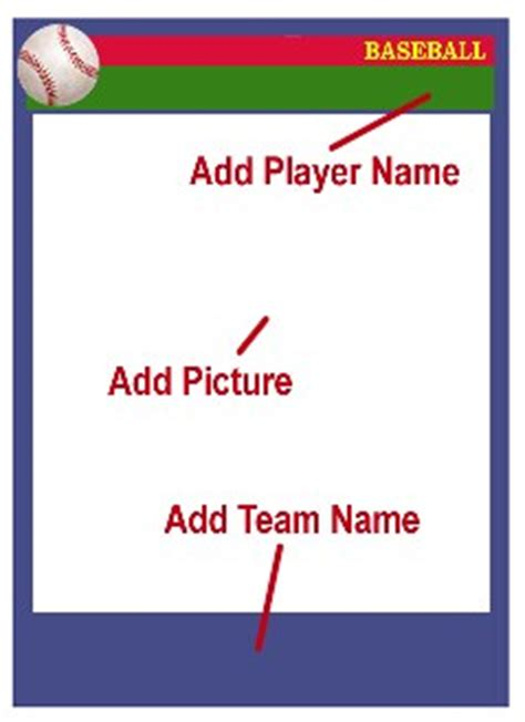 Sports Player Card Template by Baseball Card Templates Free Blank Printable Customize