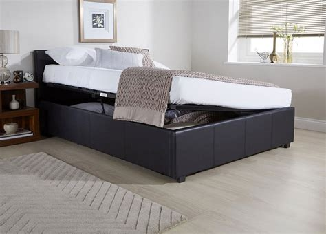 Three Quarter Ottoman Storage Bed Side Lift Ottoman Storage Black Bed Frame Bed Frames Bed Frames