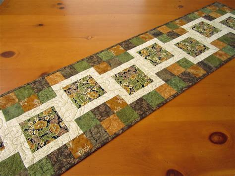 Patchwork Table Runner - quilted table runner stepping blocks on luulla