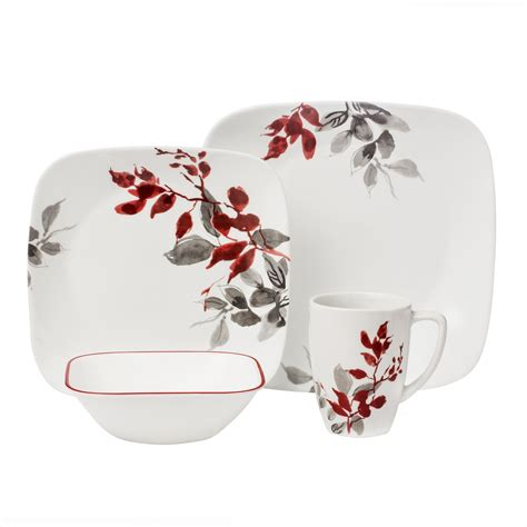 corelle leaf pattern corelle vitrelle kitchen design dinnerware 16 pcs set