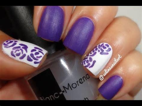 easy nail art roses easy purple roses nail art tutorial youtube