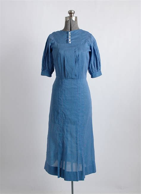 1930s blue cotton polka dot dress hemlock vintage clothing