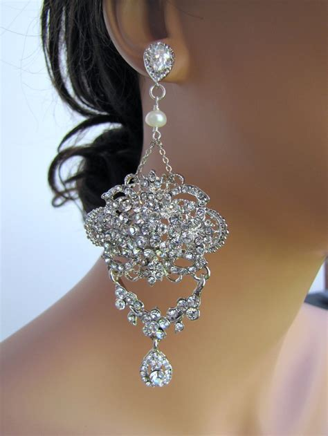 large and dangle statement bridal chandelier earrings