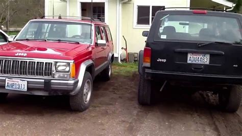 stock jeep vs lifted jeep jeep cherokee xj 4 5 rough country x series lift compared