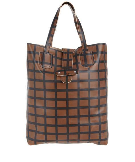 check shopper bag marni accessories brown check leather shopper bag in brown