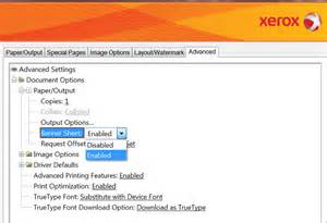 how to remove the banner page cover page from the xerox