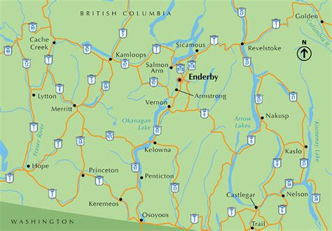 Road Map Of Bc Interior by Maps Enderby Bc Canada