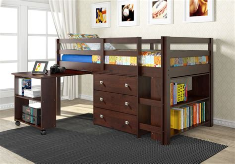 Bunk Bed With Desk And Dresser by Loft Bunk Bed With Roll Out Desk Built In 3 Drawer Chest