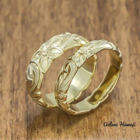 Wedding Rings Hawaii by Gold Wedding Ring Set Of Traditional Hawaiian