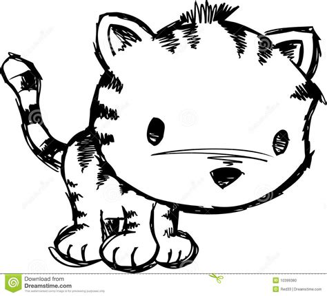 how to draw with doodle cat 1 sketchy cat vector illustration stock vector image 10399380