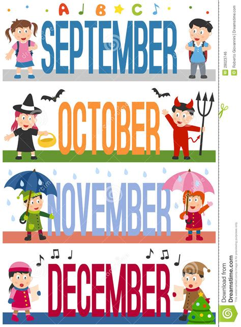 november printable banner months banners with kids 3 stock vector illustration