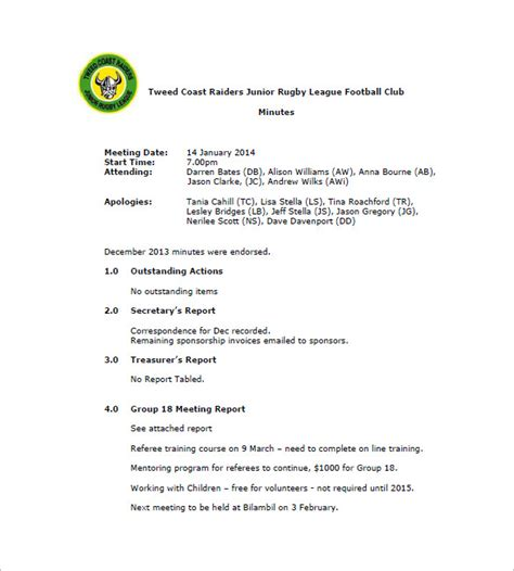 club meeting minutes templates 9 free sle exle