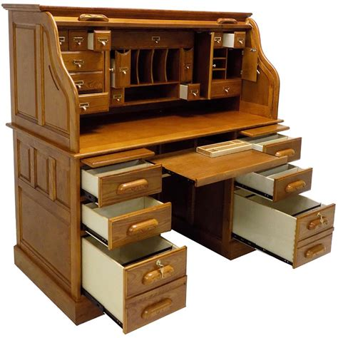 53 3 4 Quot W Deluxe Oak Roll Top Desk In Stock Roll Top Office Desk