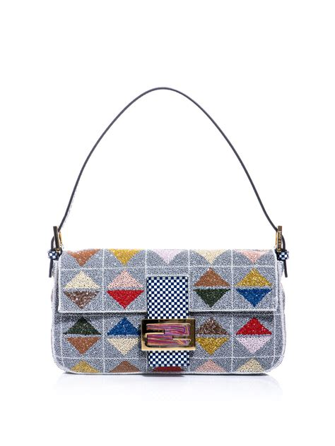 Fendi Sequined Baulotto Grande Handbag by Fendi Graphic Beaded Baguette Bag Lyst