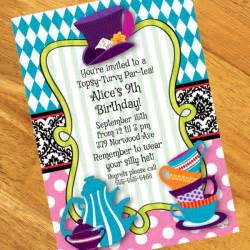 mad hatter tea personalized invitation at dollar carousel