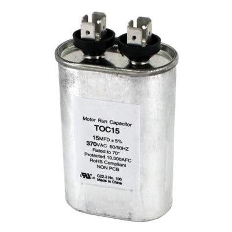 capacitor 15 mfd 370 vac packard 370 volt 15 mfd motor run oval capacitor toc15 the home depot