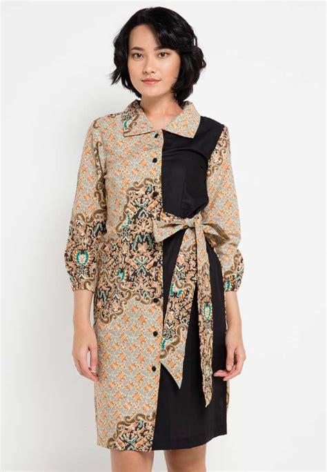 model dress batik modern kombinasi elegan terbaru