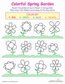 counting flowers coloring page education com